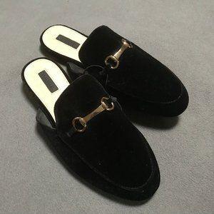 Black velveteen scuffs